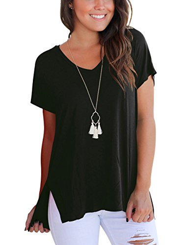 FAVALIVE T Shirts for Women Short Sleeve V Neck Tops and Blouses Loose Fit Top Tees Black S