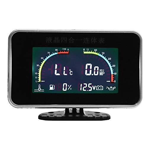 CAIZHIXIANG 4 Indicador de In1 Coche LCD Digital de presión de Aceite del voltímetro del medidor de Temperatura del Agua del Combustible 12V 24V