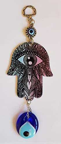 MYSTIC JEWELS Diseno casa bendicion Hamsa de la Mano de Fatima con Ojo Turco para energia Suerte y exito (Color1)