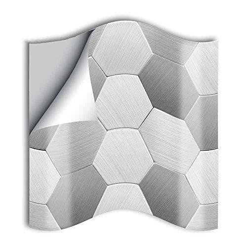 Hiser 25 Piezas Adhesivos Decorativos para Azulejos Pegatinas para Baldosas del Baño/Cocina Estilo de fútbol de Metal Resistente al Agua Pegatina de Pared (Hexágono Plateado Cepillado,15cm)