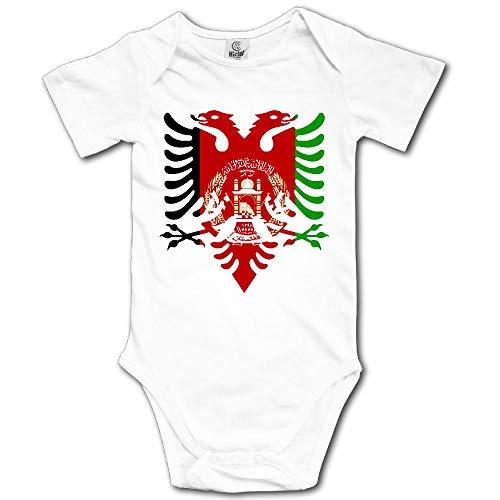 Albanian Black Eagle Afganistan Flag Newborn Baby Outfit Creeper Short Sleeves Bodysuits