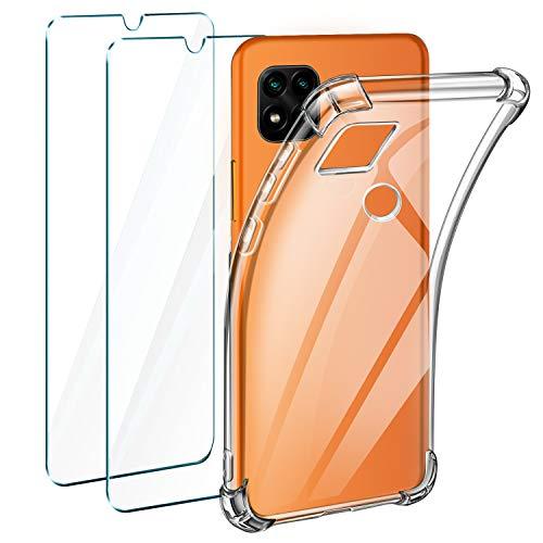 Leathlux Funda Compatible con Xiaomi Redmi 9C, 2 Pack Cristal Templado Protector de Pantalla Compatible Xiaomi Redmi 9C
