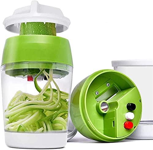 Cortador espiral de mano para verduras con contenedor de calabacín, tallarines y espaguetis en espiral, color verde claro, tamaño: 1