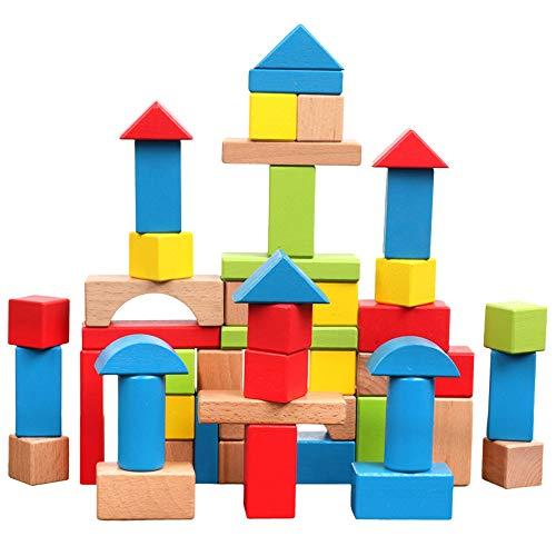 SXPC Blocs en Bois de Construction Couleur Cognitives de la Petite enfance Jouets éducatifs 50pcs