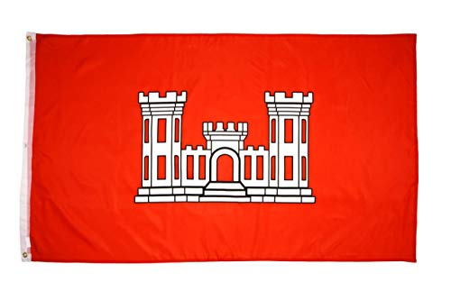 High Supply 3x5 Army Engineer Corps Vessel Flag with 100% Polyester Fabric, Double Stitched Edges, and Two Brass Grommets, 3x5 Army Flag, 3x5 Flag of The Army Corps of Engineers