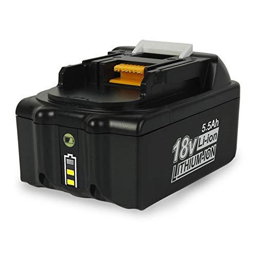 SHGEEN BL1860 - Batería de repuesto para Makita 18 V, 5,5 Ah, ion de litio BL1850B BL1850 BL1830B BL1830 BL1840B BL1840 BL1835 BL1845 194205-3 LXT-400 con indicador LED