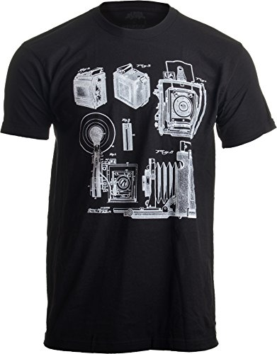 1938 Graflex Speed Graphic Camera Patent Drawing   Photographer Unisex T-Shirt-(Adult,2XL) Black