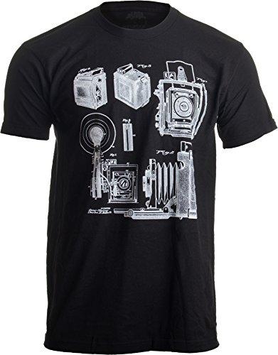1938 Graflex Speed Graphic Camera Patent Drawing | Photographer Unisex T-Shirt-(Adult,L) Black