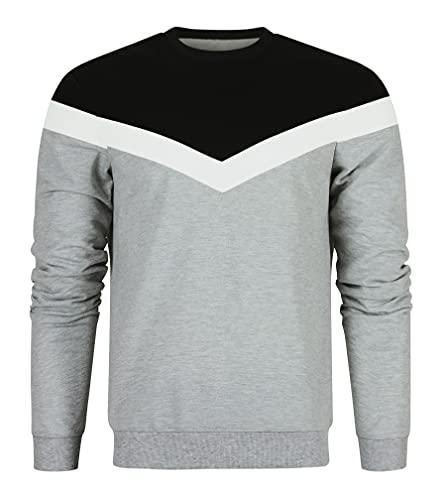 TUONROAD Rundhals Hoodie Pullover Herbst Winter Herren Sweatshirt Lässig Unisex Grau Sweater Männer Langarm Shirts Arbeits Pullover L