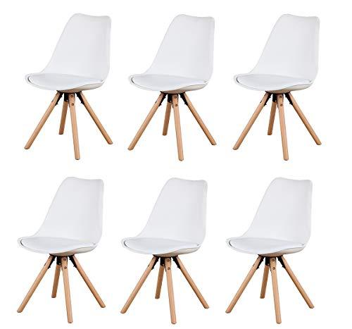 Sedia da pranzo semplice moderna in legno massello gambe sedia con morbido cuscino materiale plastico adatto per soggiorno, camera da letto, cucina, sedia per il tempo libero (White-yb, 6)