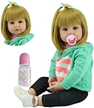 iCradle Lovely Reborn Baby Girl Doll 18inch 45cm Soft Silicone Realistic Looking Newborn Vinyl Dolls Handmade Toddler Toy for Ages 3+