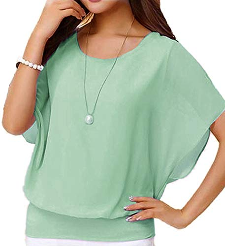 VIISHOW Women's Loose Casual Short Sleeve Chiffon Top T-Shirt Blouse (Large, Green) (Apparel)
