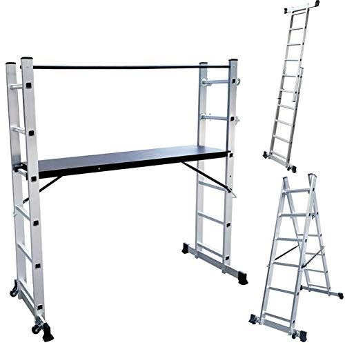 Froadp Andamios de Aluminio Trabajo Multipropósito con Tablero de MDF Antideslizante Capacidad de Carga 150kg Escalera Combinada Plegable con 2 Barras de Equilibrio y 2 Ruedas(2×6 peldaños, Plata)