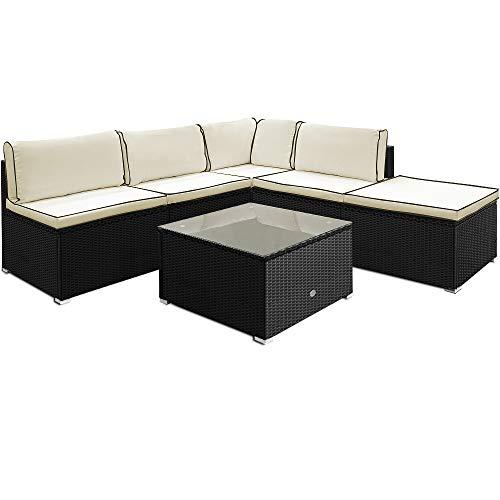 Deuba Poly Rattan Lounge Set 20cm Kissen 7cm Auflagen Tisch Sicherheitsglas Gartenmöbel Sitzgruppe Gartenlounge Schwarz