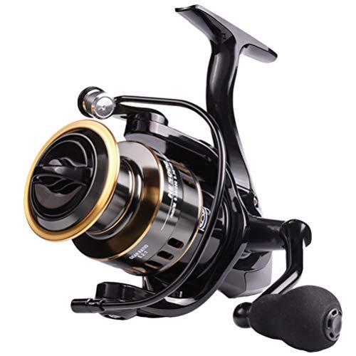 BESPORTBLE Molinete de pesca de metal giratório para pesca em água salgada ou doce, HE 3000, Preto HE 3000, 12X6.5X6.5CM
