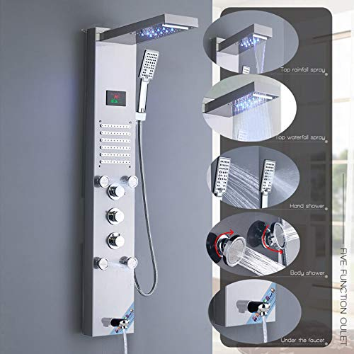 Saeuwtowy LED Panel de Ducha Con Cascada y Ducha de Lluvia Columna de Ducha Hidromasaje Ducha Moderna 5 Función Acero Inoxidable con Pantalla LCD para Baño
