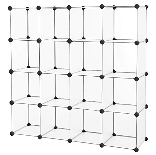 SONGMICS Cube Storage Plastic Cube Organizer Units DIY Modular Closet Cabinet Bookcase Included Anti-Toppling Fittings and Rubber Hammer White Translucent 16-Cube ULPC44L