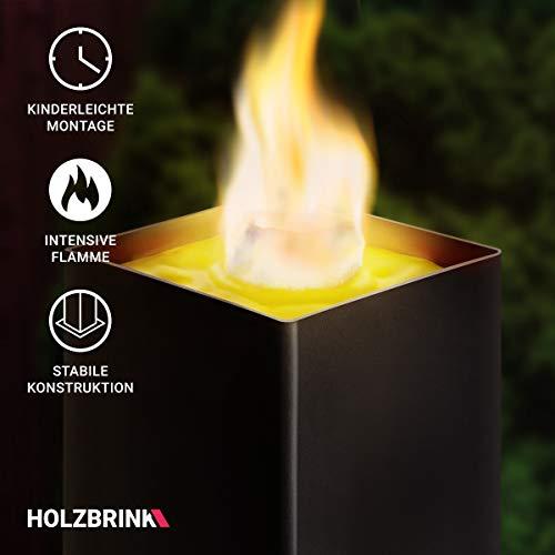 HOLZBRINK Gartenfackel aus Metall inkl. Outdoor Kerze, Gartenbeleuchtung, HLG-01-S