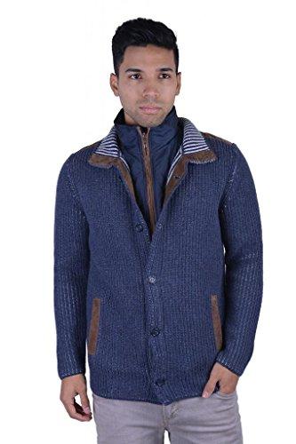 Doriani Men's 100% Cashmere Suede Trimmed Jacket With Detachable Vest US 3XL IT 58