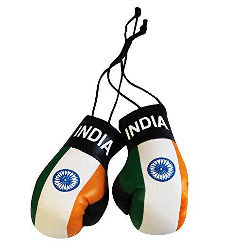 Mini-Boxhandschuhe für Auto oder Zuhause mit indischer Flagge