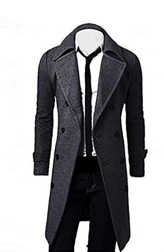 Elonglin Homme Hiver Manteau Trench-Coat à Manches Longues Double Boutonnage Chaud Slim fit Casual Parka Veste Longue en Laine Caban Duffle-Coats Mode Classique Gris Taille FR M (Asie L/XL)