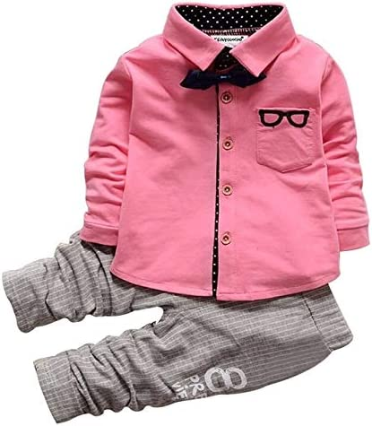 Jiangym Kids Clothing Boys Bow Tie Long Sleeve Top + Letter Print Pattern Pants Set, Kid Size: M(Green) Boys Clothing