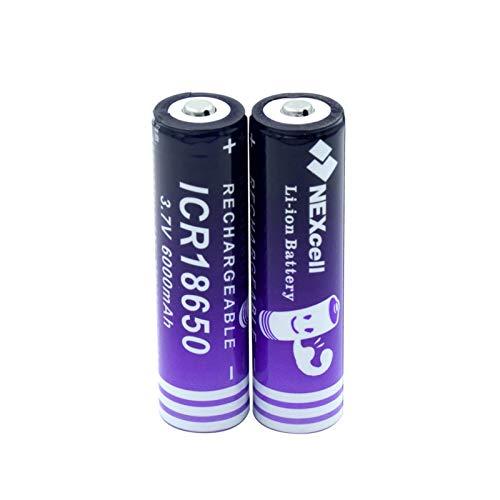 yfkjh 18650 Baterías recargables 3.7V 6000mAh batería de iones de litio, botón de alta capacidad ICR superior para la linterna de luz LED reemplazo celular 2pcs