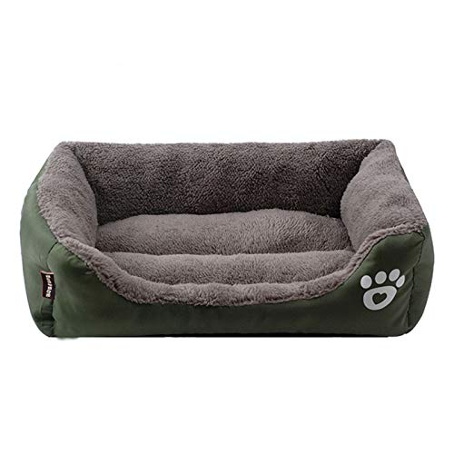 PPQQBB Cama Rectangular Gruesa Cama para Perros de Mascotas rectangulares para Perros pequeños/medianos/Grandes con vellón de Coral Suave y Fondo Antideslizante (Azul) F-S