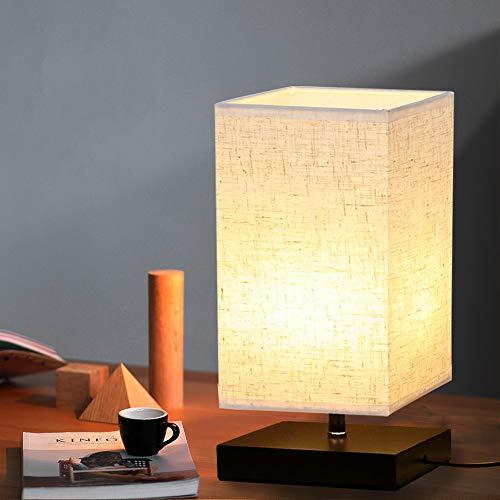 Depuley Tischlampe aus Holz Nachttischlampe Vintage Stehlampe Modern auf Tisch E27-Fassung mit EU-Stecker Warmweiß für Wohnzimmer, Kinderzimmer, Schlafzimmer, Esszimmer Eckig