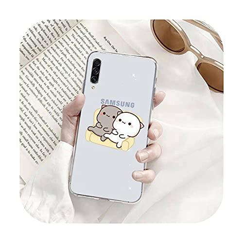Linda caricatura melocotón gatos teléfono caso transparente para Samsung A71 S9 10 20 HUAWEI p30 40 honor 10i 8x xiaomi note 8 Pro 10t 11-a1-xiaomi mi 10t