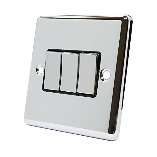 Cuadro de 3 interruptores de Cromo Satinado con Interruptor de Metal, 2 Agujeros de sujeción para Tornillos AET CPC3GSWIBC 10A