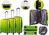 Azure Graduated PC 4 ruedas TSA Lock Lime Equipaje conjuntos de 3 piezas ligero 4 ruedas Spinner duro Shell Trolley Case