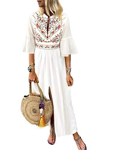 HAHAEMMA damesjurk maxi-jurk losse jurk lange mouwen retro linnen katoen lange jurken elegante blouse breedte casual zomerjurk dames plus maat