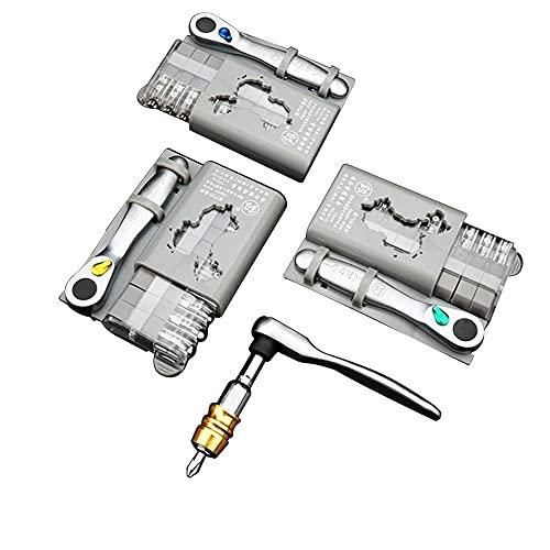 Juego de destornilladores de trinquete, kit de herramientas de reparación de puntas de destornillador extra duro con caja de almacenamiento, 9,5 x 7 x 1,8 cm