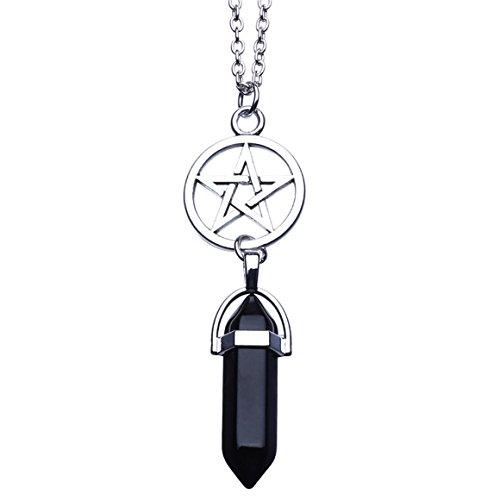 ODN Damen Halskette Sechseckigen Kristall Anhänger Kette (Sechseckige Spalte)