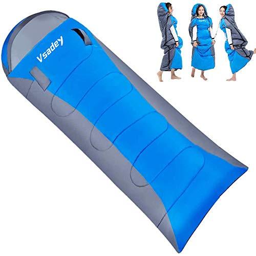 Vsadey 寝袋 封筒型 シュラフ 1.4kg 1.7kg 夏/冬用 手が出せる ダブルファスナー設計 軽量 保温 防水 アウ...