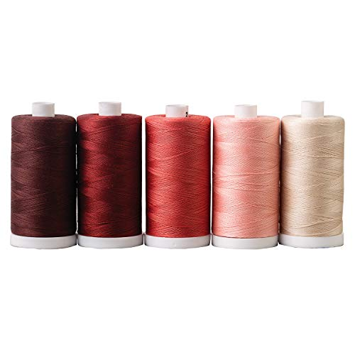 Discover Bargain Connecting Threads 100% Cotton Thread Sets - 1200 Yard Spools (Set of 5 - Dusty Red...