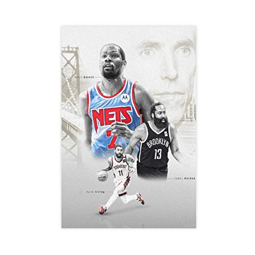James Harden, Kevin Durant And Kyrie Irving Poster Nets Basketball Player 5 Canvas Art Bedroom Decor Picture Prints Offices Dorm Room Decor Gift 20×30inch(50×75cm) Unframe-style1