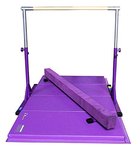 """Z ATHLETIC Expandable Kip Bar for Gymnastics, 4ft x 8ft x 2in Mat, 7"""" Off Ground Balance Beam Set (Purple)"""