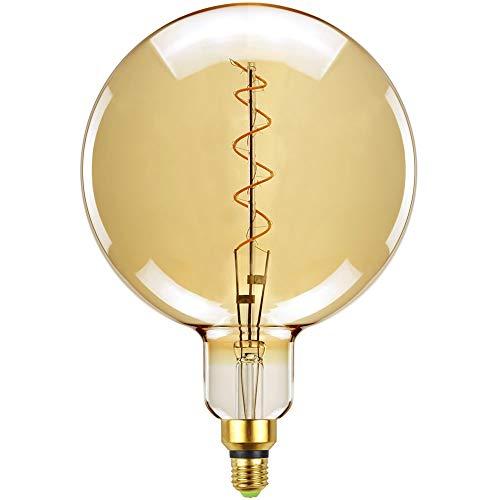 Tianfan LED-Leuchtmittel, Vintage-Leuchtmittel, Spiral-Glühfaden, 5,5 W, dimmbar, goldfarben getöntes Glas, E27-Sockel, übertriebene Größe, G200, E27, 4W 230.00V