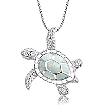 WEILYDF Lovely Turtle Necklace Opal Sea Turtle Choker Health and Longevity Turtle Pendant Collar Jewelry Gift for Women Girls  White