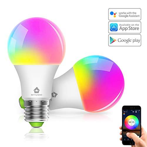 Smart LED-Lampe 2er Pack WLAN Mehrfarbige Dimmbare LED Glühbirne E27, Kompatibel mit Alexa und Google Assistant, 350 Lumen, APP Fernbedienung [Energieklasse A+] (4.5W)