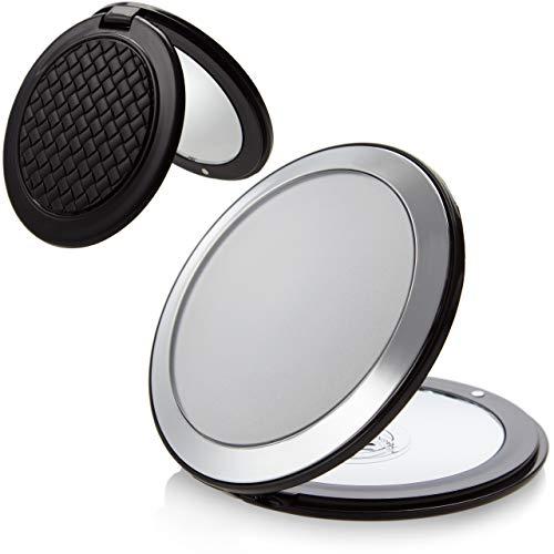 Taschenspiegel Rund zum Klappen: Make Up Spiegel klein - Makeup Spiegel 8,5 cm, normal und 7-fache Vergrößerung (zweiseitig) - Reise Klappspiegel aus Kunststoff in Schwarz und Silber, Fantasia