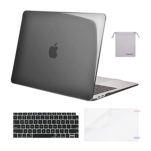 MOSISO Compatible with MacBook Air 13 inch Case 2020 2019 2018 Release A2337 M1 A2179 A1932 Retina Display Touch ID, Plastic Hard Shell&Keyboard Cover&Screen Protector&Storage Bag, Crystal Black
