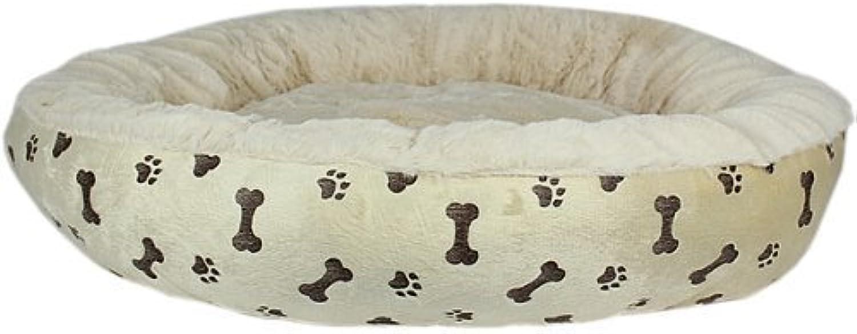 Parisian Pet Paw Prints Pet Bed, Khaki