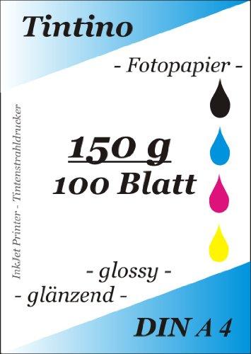 100 Blatt Fotopapier DIN A4, 150g/qm high -glossy hoch-glaenzend -sofort trocken -wasserfest-hochweiß-sehr hohe Farbbrillianz, fuer InkJet Drucker Tintenstrahldrucker