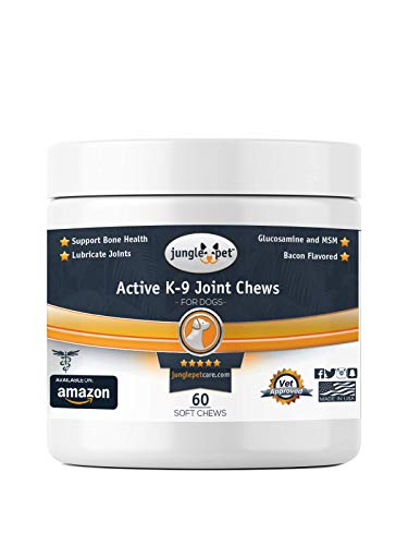 Jungle Pet Active K-9 Joint Chews - with {Chondroitin, Glucosamine, MSM} - Powerful & Effective, 60 Count