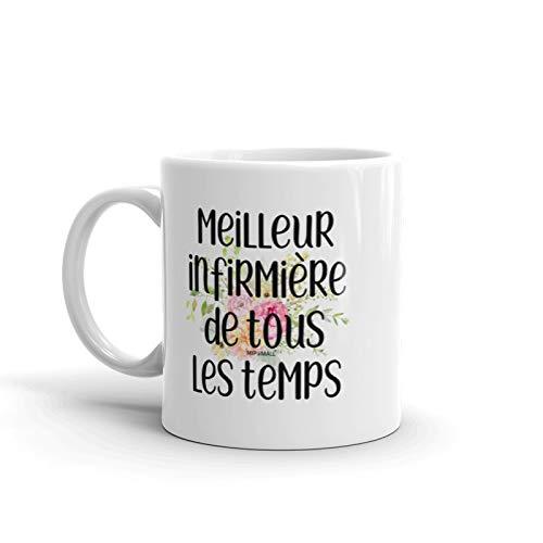 Cadeaux Pour Femmes, Meilleur Infirmiere De Tous les Temps, Tasse de café, Cadeau de Noël Pour elle - wm3713