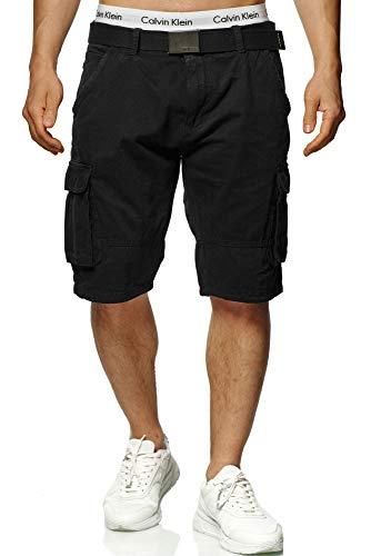 Indicode Herren Blixt Cargo Shorts mit 6 Taschen inkl. Gürtel aus 100% Baumwolle   Kurze Hose Sommer Herrenshorts Short Men Pants Cargohose Bermuda Sommerhose kurz für Männer Black L