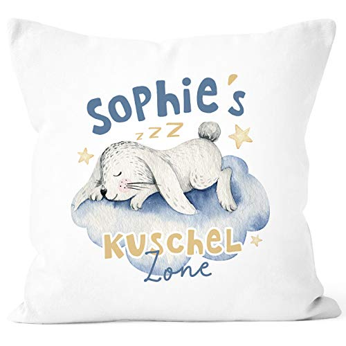 SpecialMe® Kissen-Bezug mit Namen Wunschname Kuschelzone Aufdruck Hase Namenskissen Kinder Baby weiß Unisize